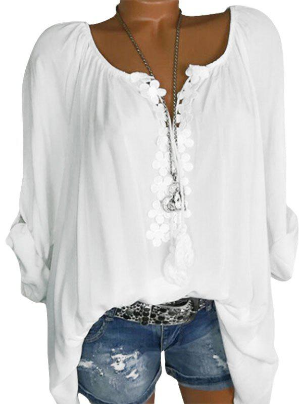 Plus Size Lace Guipure Roll Up Sleeve Blouse фото