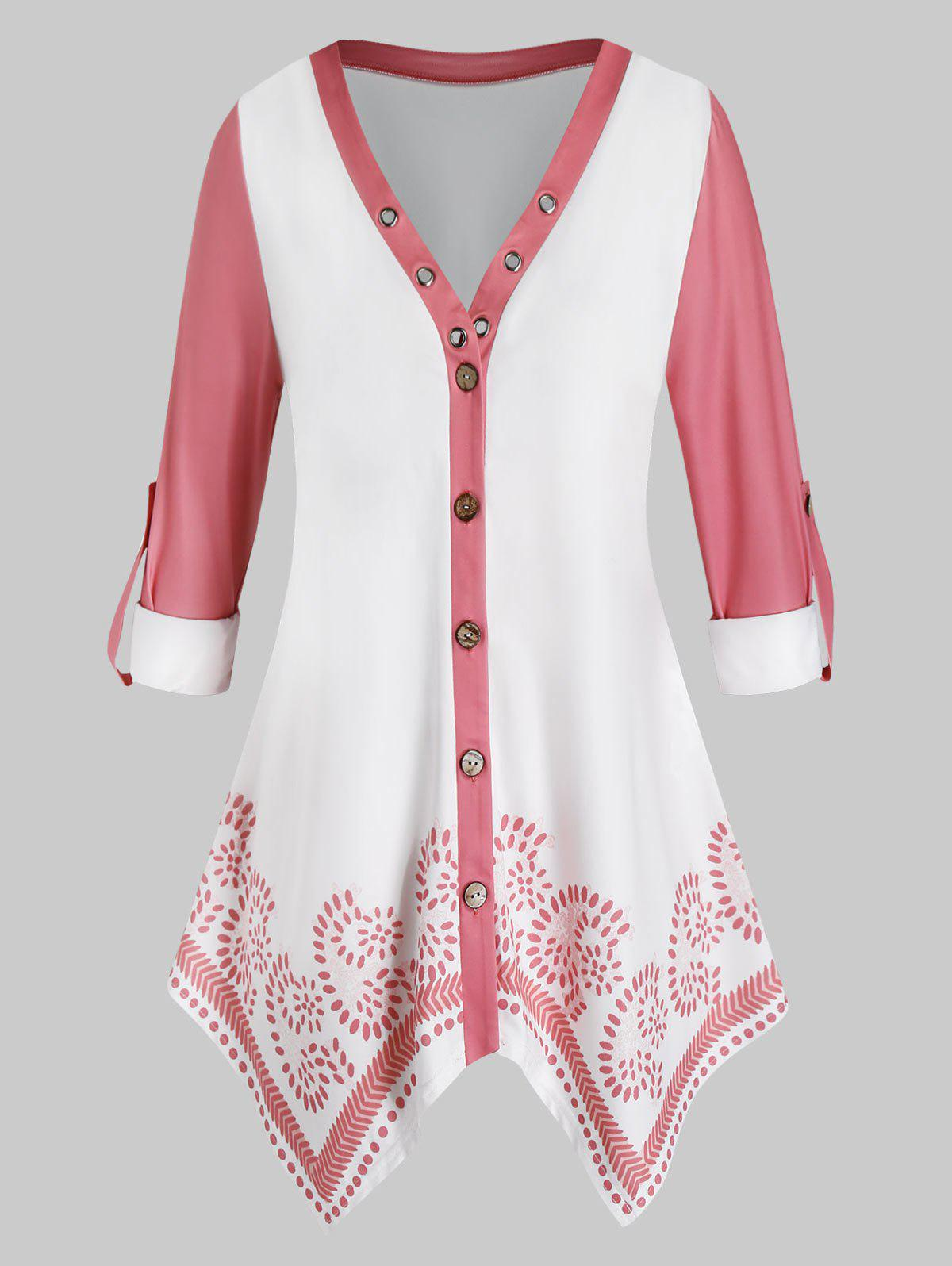 Latest Plus Size Button Up Roll Up Sleeves Handkerchief Blouse