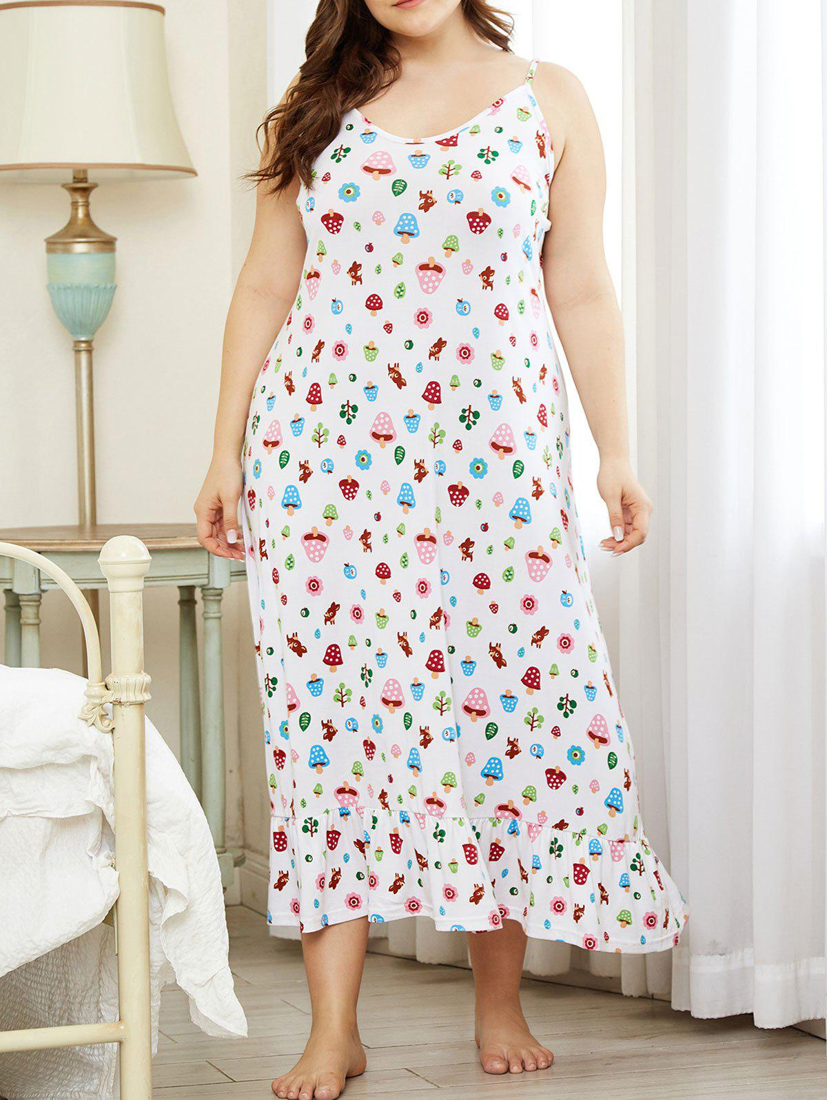 Outfit Plus Size Cartoon Leaf Mushroom Print Flounce Nightdress