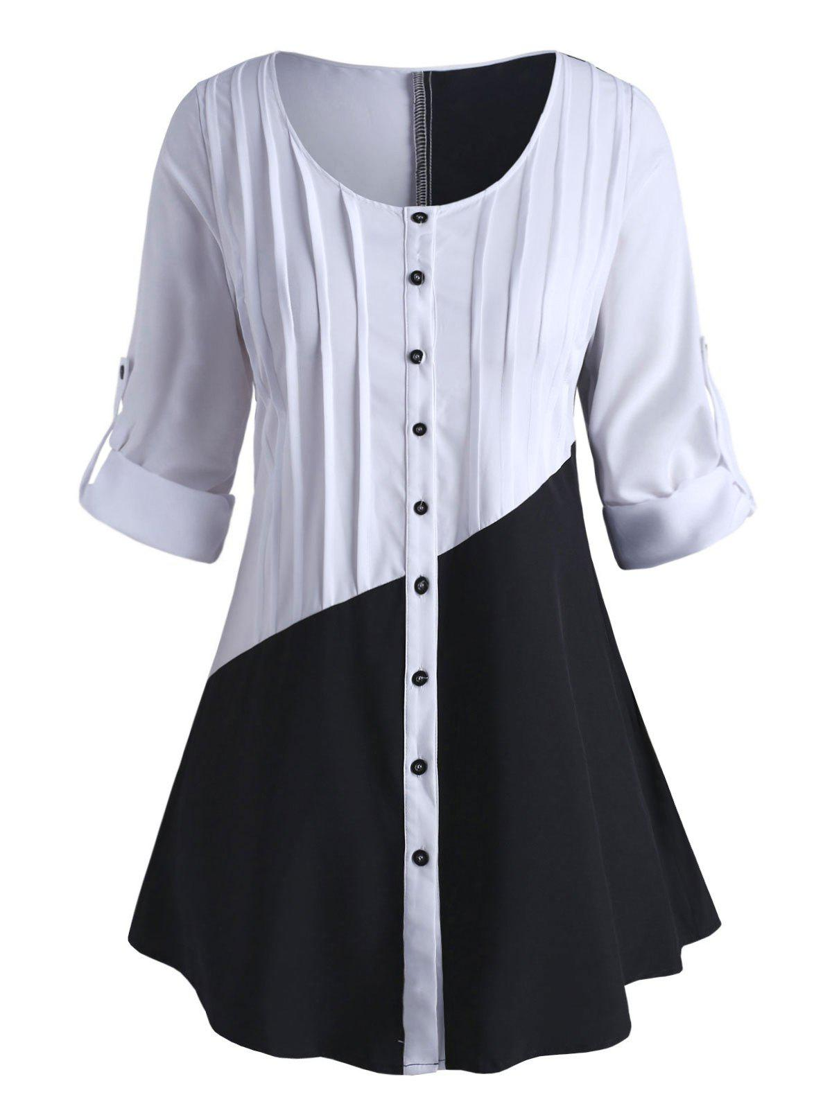 Outfit Plus Size Colorblock Roll Up Sleeve Blouse
