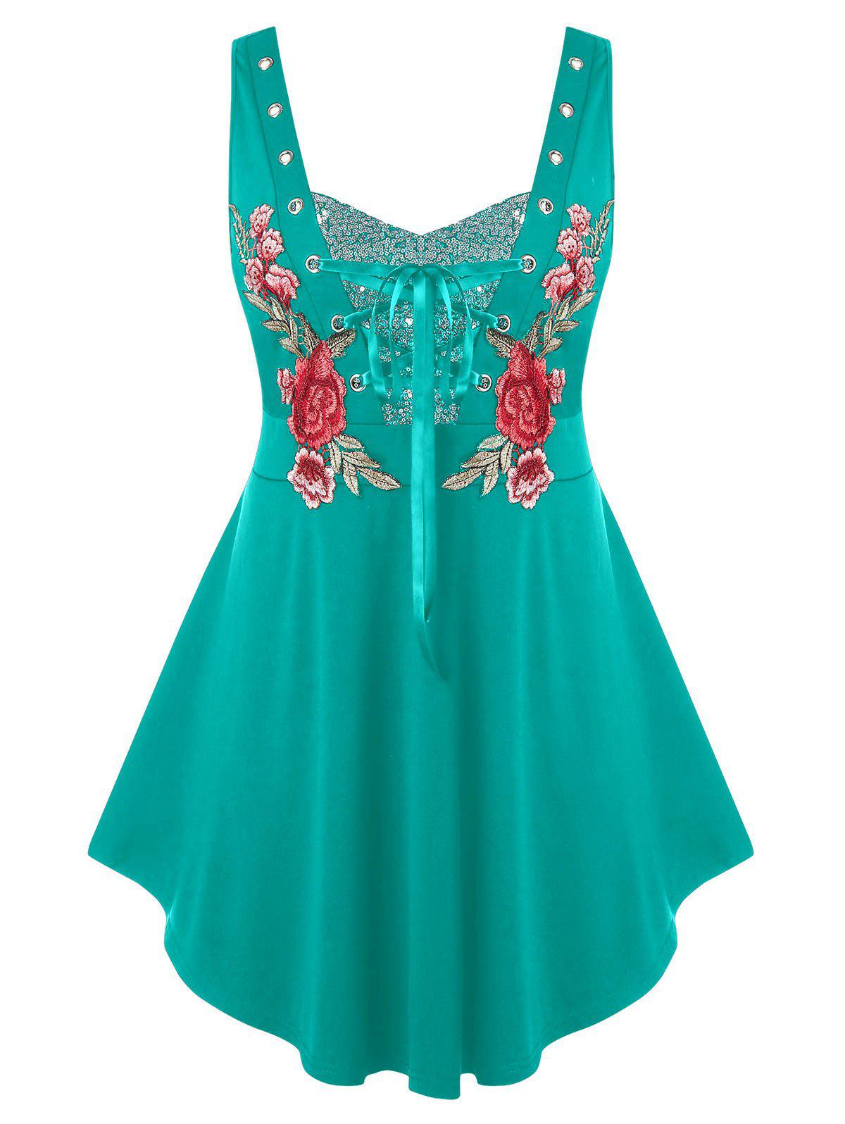 Affordable Plus Size Embroidered Lace Up Sequin Tank Top