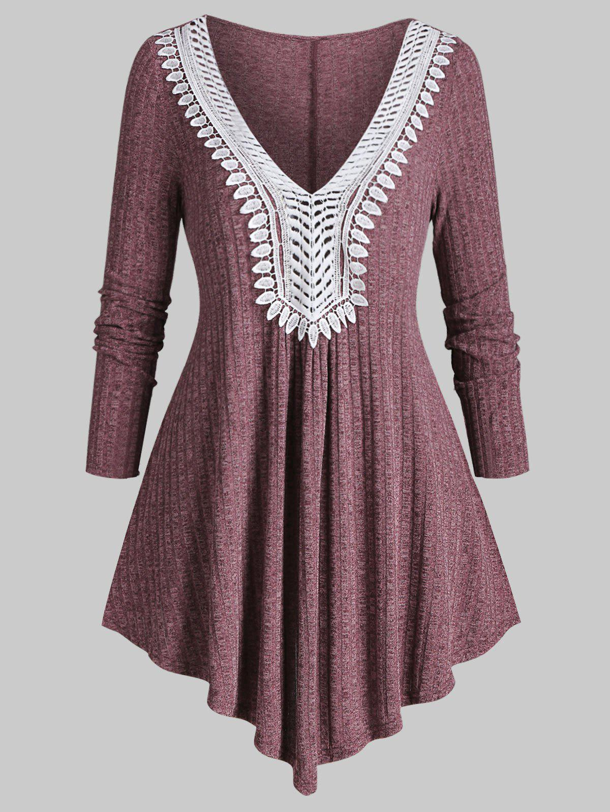 Latest Plus Size Ribbed Contrast Lace Asymmetric Knitwear