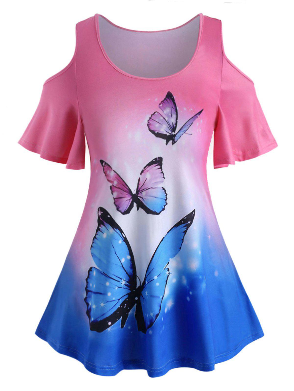 New Plus Size Ombre Butterfly Print Cold Shoulder T Shirt