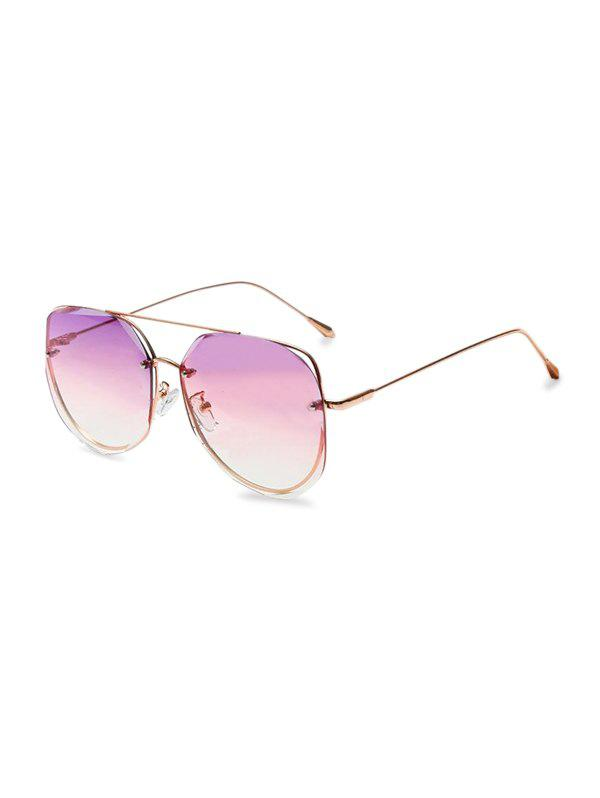 Outfit Gradient Cutting Edge Metal Bar Sunglasses