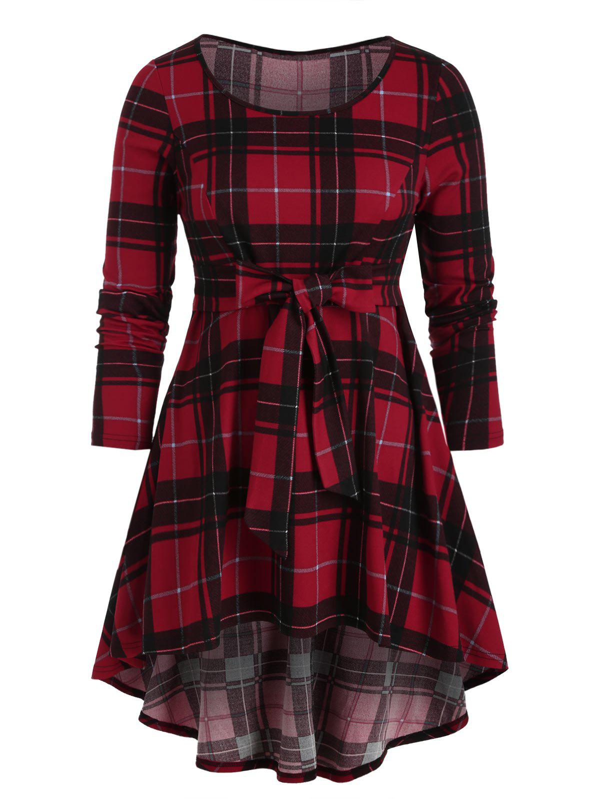 Affordable Plus Size Check Print High Low T-shirt