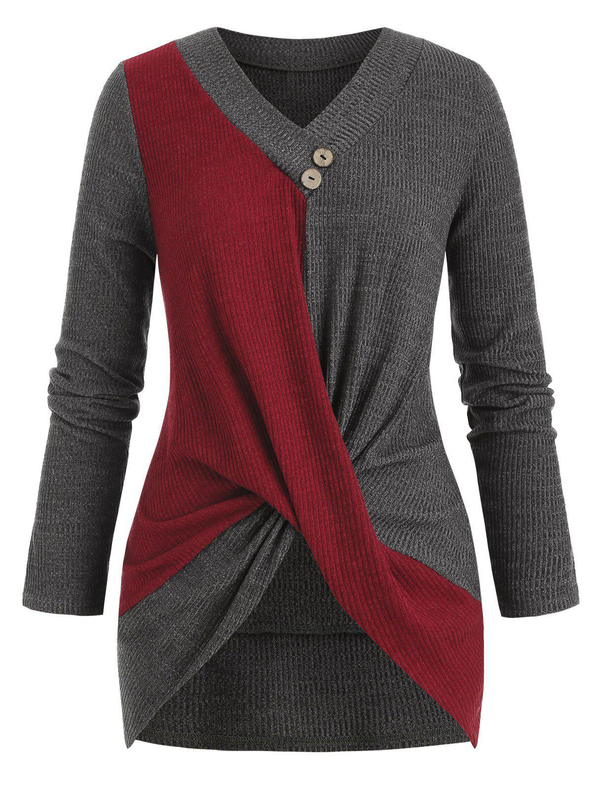 Store Plus Size Bicolor Two Tone Twisted Ribbed Sweater