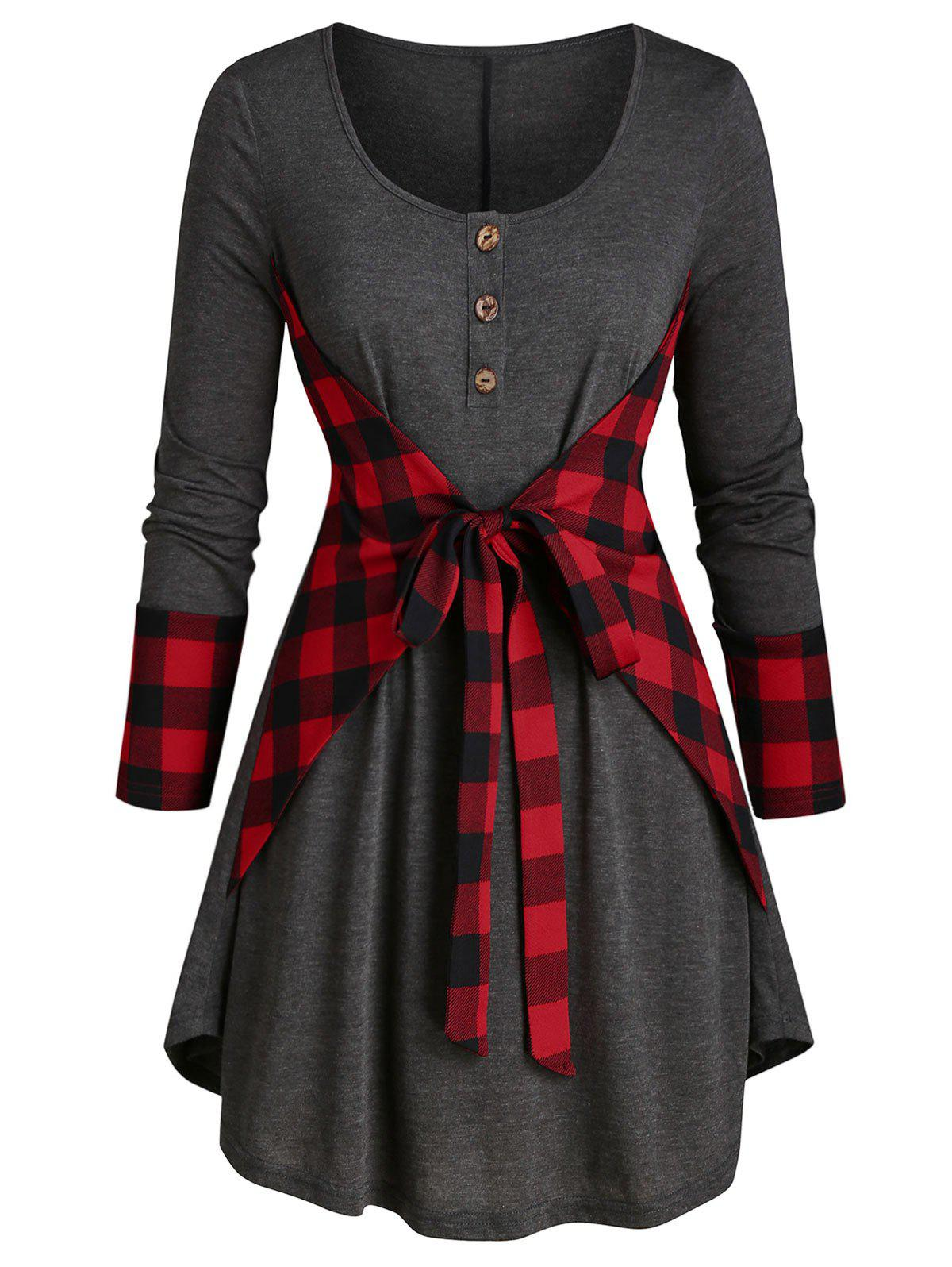 Outfit Plus Size Plaid Knotted Curved Long Sleeve Tunic Tee
