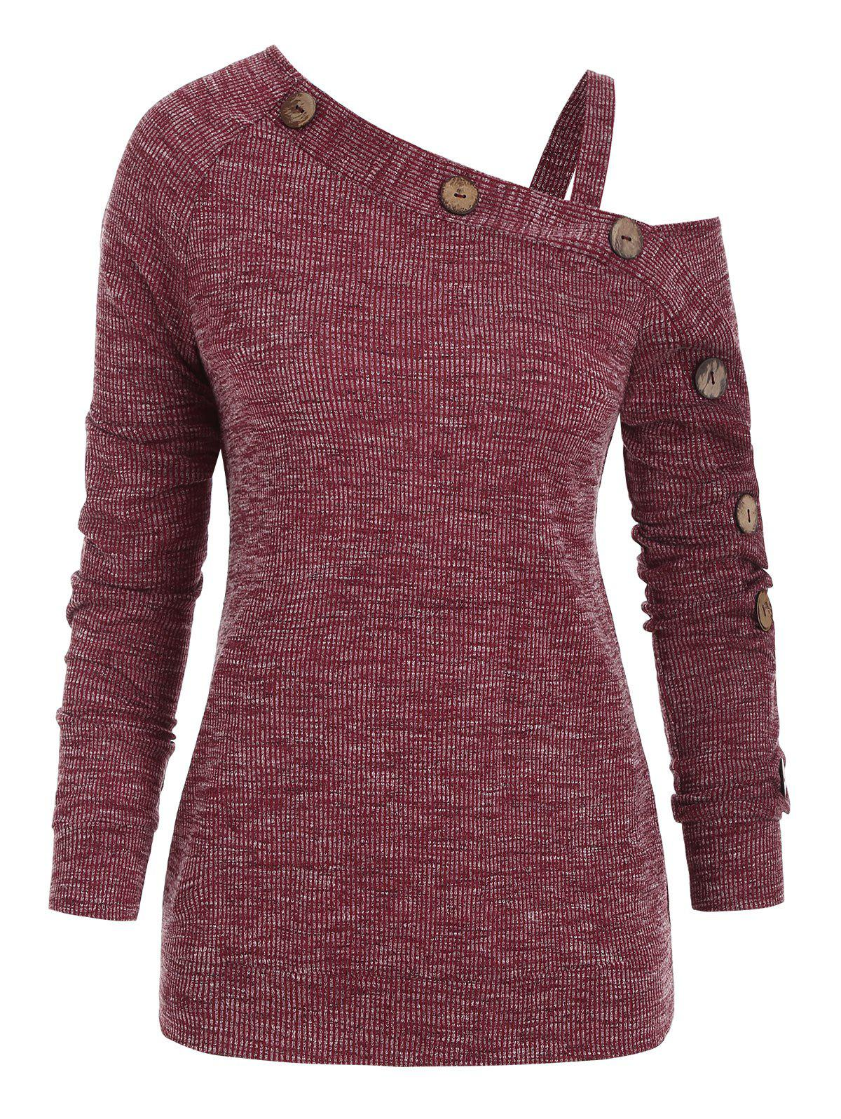 New Cold Shoulder Mock Button Ribbed Knitwear