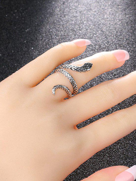 Unique Punk Carved Snake Wrap Silver Plated Ring
