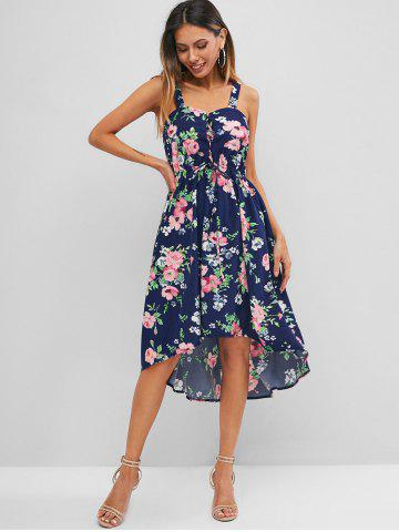 Floral Print Lace Up Dip Hem Dress
