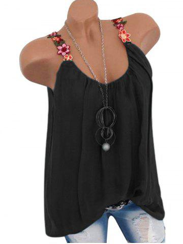 Flower Embroidered Casual Tank Top - BLACK - XL