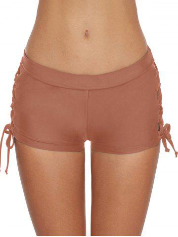 Mid-rise Lace-up Side Swim Shorts