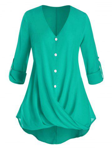 Plus Size Crossover Button Tab Sleeve Curved Blouse - MEDIUM TURQUOISE - 3X