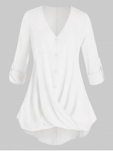 Plus Size Crossover Button Tab Sleeve Curved Blouse