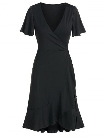 Flounced Plunge Neck Wrap Dress