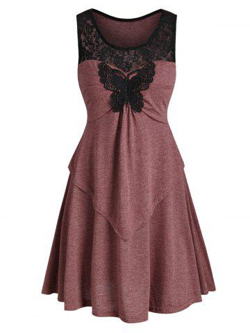 Lace Insert Butterfly Applique Mini Dress