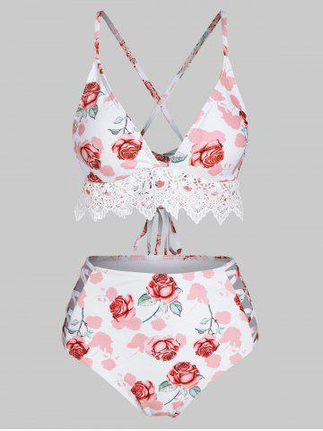 Crochet Lace Panel Rose Print Lace-up High Waisted Bikini Swimwear - LIGHT PINK - S