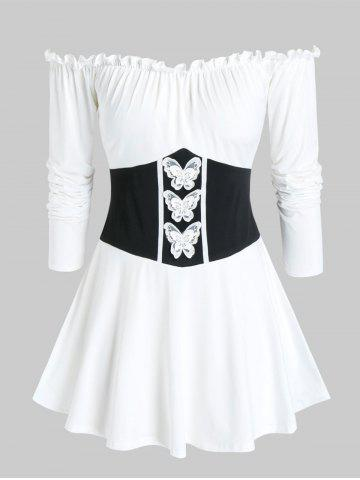 Plus Size Frilled Off Shoulder Butterfly Waisted Tunic Tee