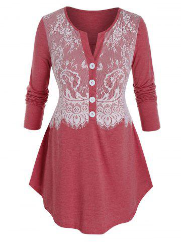 Plus Size Lace Panel Eyelash Half Placket Curved Tee - VALENTINE RED - L