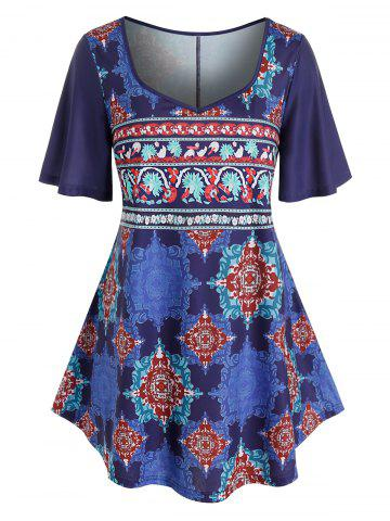 Plus Size Bandana Print Flutter Sleeve Curved Tunic Tee - COBALT BLUE - 2X