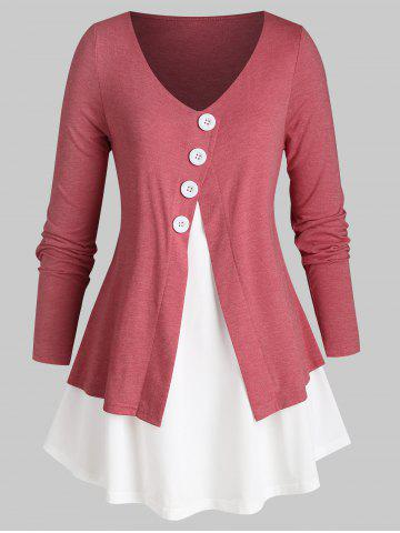 Plus Size Two Tone Overlap Buttoned Curved Hem Tunic Tee - VALENTINE RED - 5X