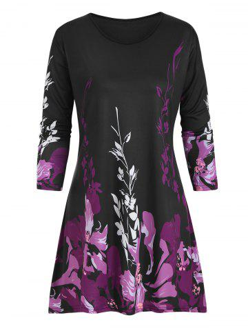 Plus Size Floral Three Quarter Sleeve Tunic Top