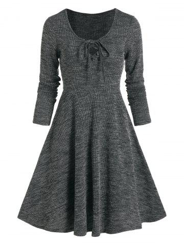 Lace Up Knitted Long Sleeve Mini Dress