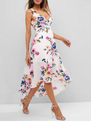 Floral Print O Ring Dip Hem Plunging Dress -