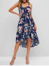 Floral Print Lace Up Dip Hem Dress -