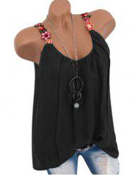 Flower Embroidered Casual Tank Top -