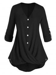Plus Size Crossover Button Tab Sleeve Curved Blouse -