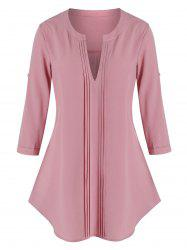 Plus Size Pintuck Button Tab Sleeve V Notch Curved Blouse -