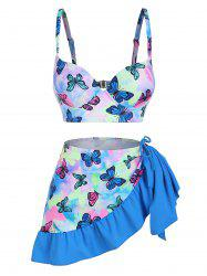 Butterfly Print Tie Dye Push Up Cinched Three Piece Swimsuit -