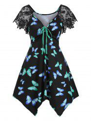 Butterfly Print Lace Panel Cinched Asymmetrical Tunic Top -