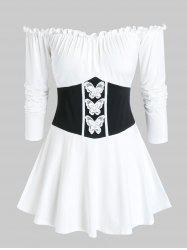Plus Size Frilled Off Shoulder Butterfly Waisted Tunic Tee -