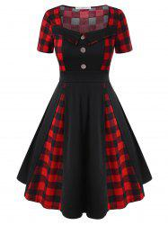 Plus Size Plaid Fit and Flare Dress -