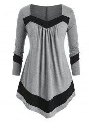 Plus Size Asymmetric Contrast Trim T Shirt -
