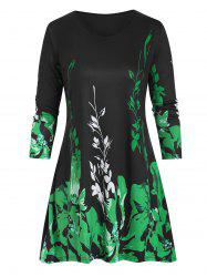 Plus Size Floral Three Quarter Sleeve Tunic Top -