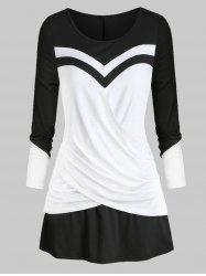 Plus Size Crossover Colorblock T Shirt -