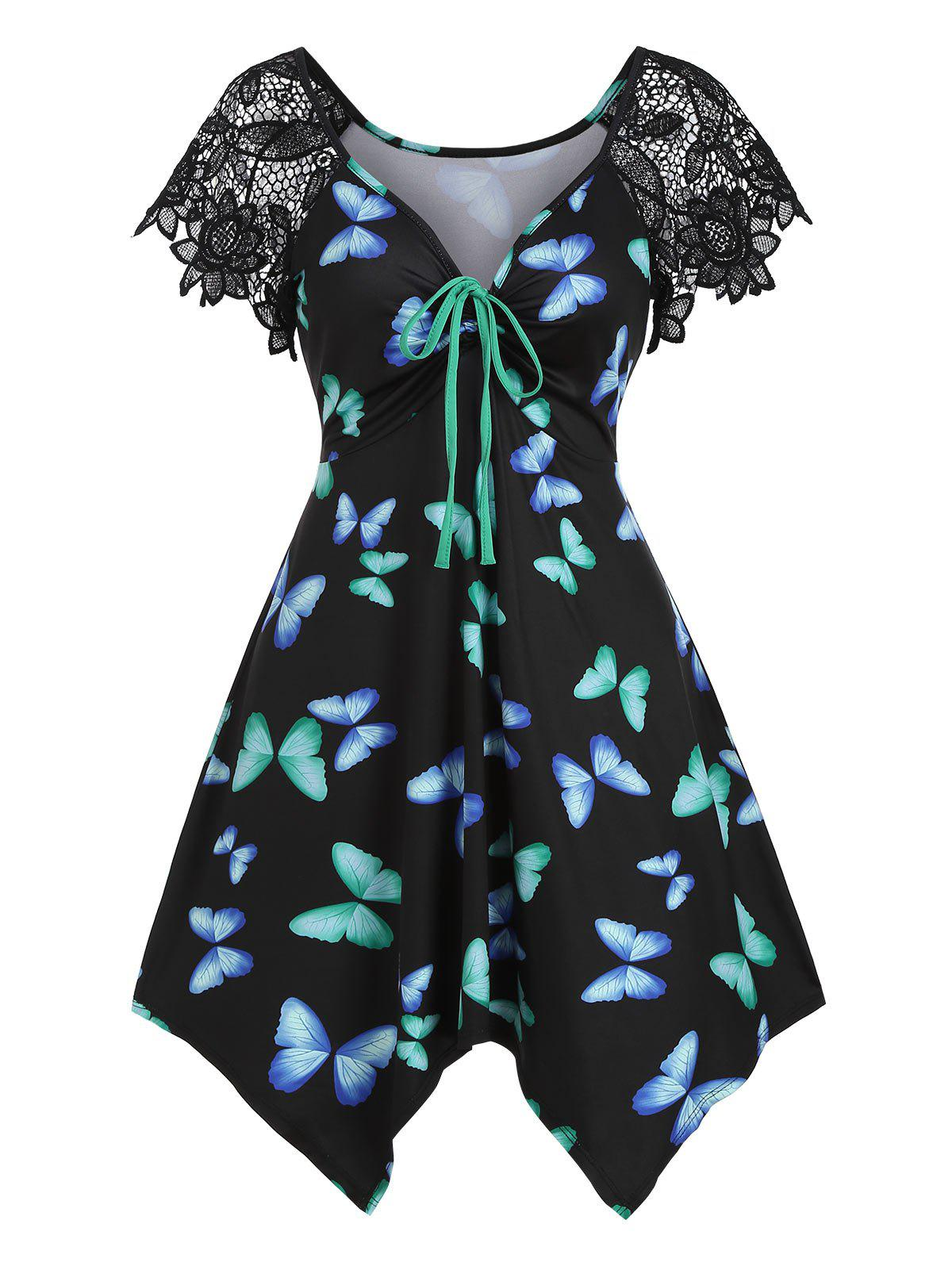 Best Butterfly Print Lace Panel Cinched Asymmetrical Tunic Top
