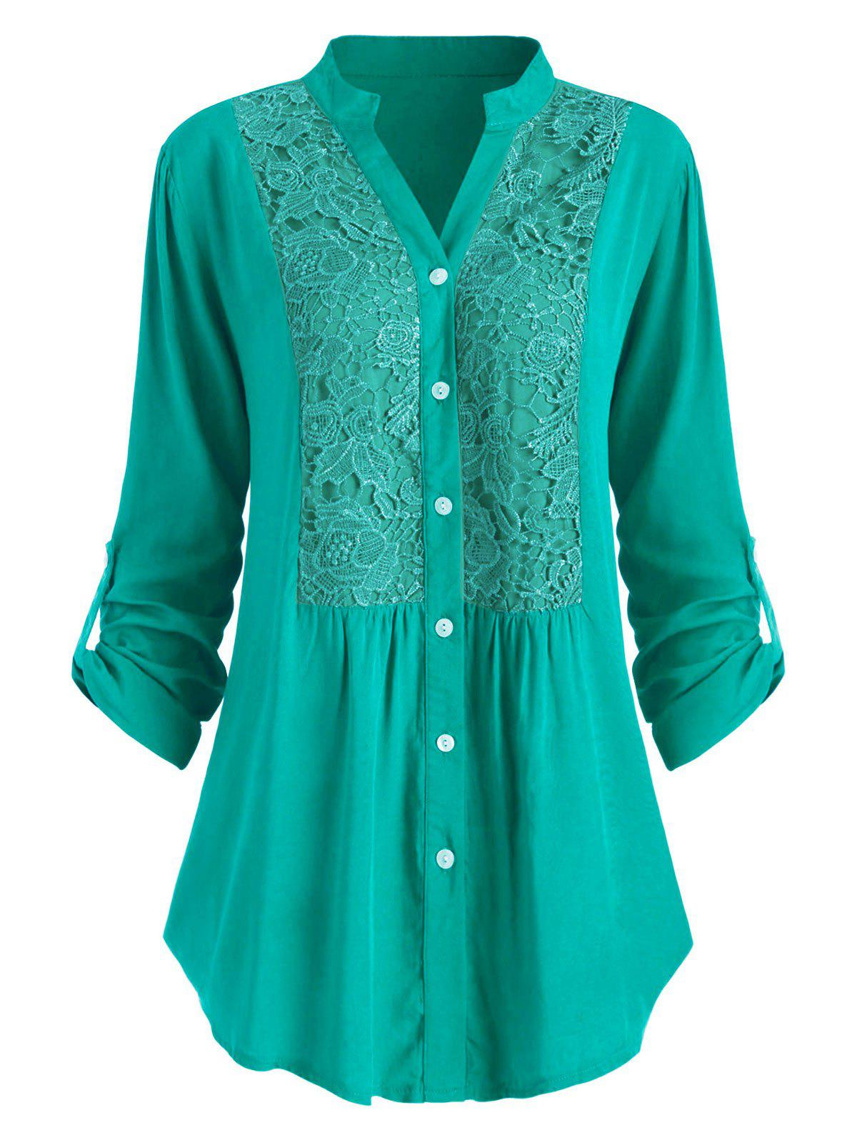 Plus Size Roll Up Sleeve Lace Crochet Shirt фото