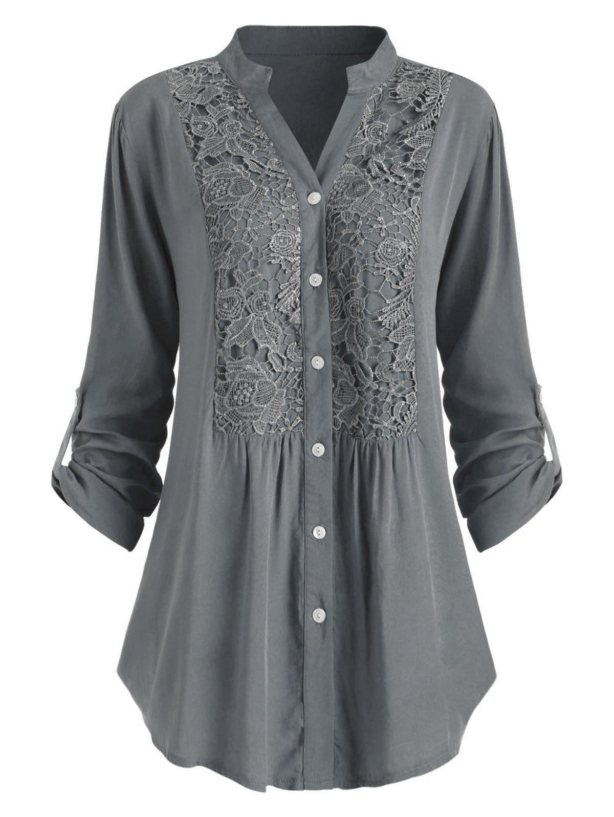 Outfits Plus Size Roll Up Sleeve Lace Crochet Shirt