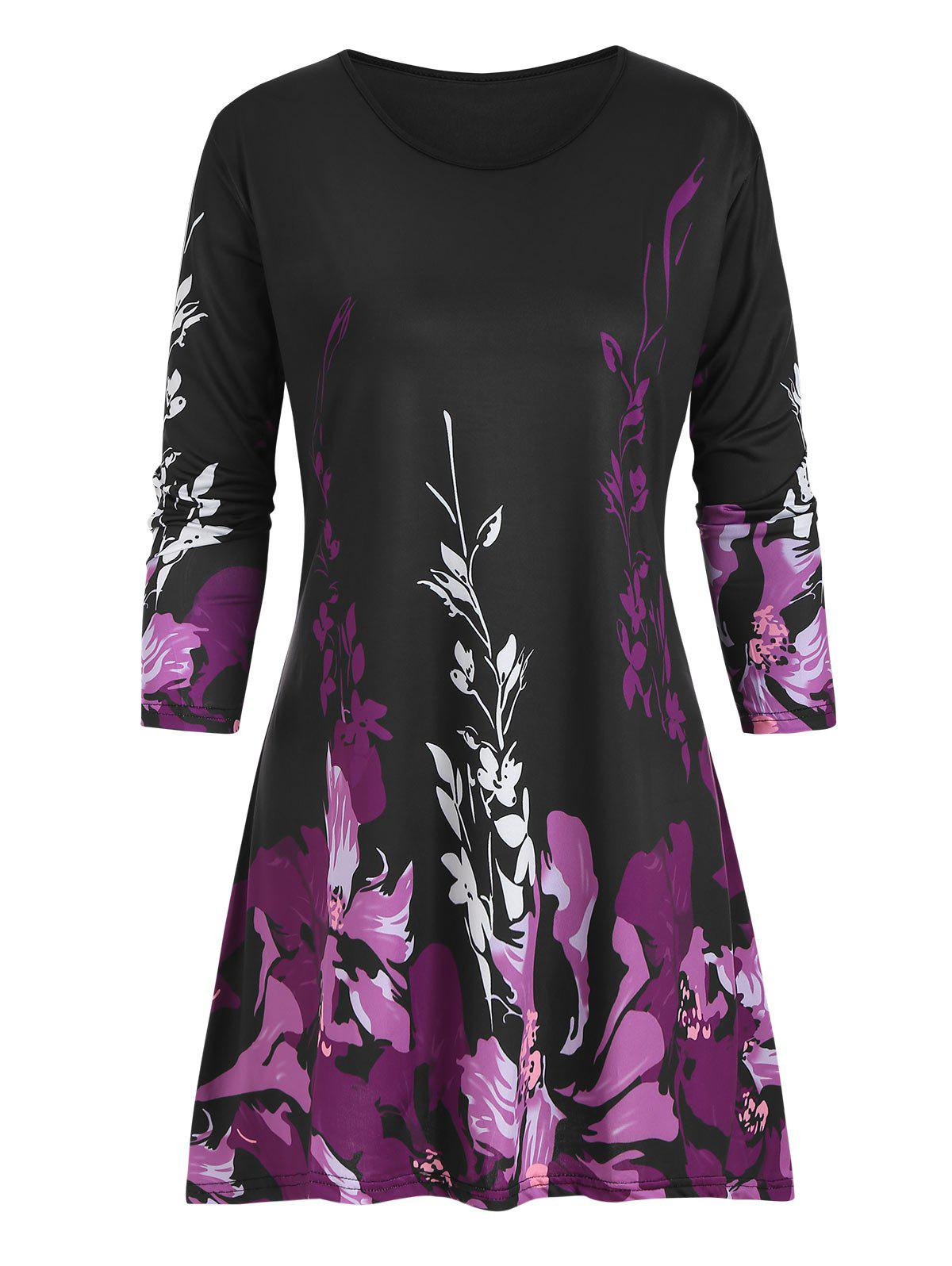 Latest Plus Size Floral Three Quarter Sleeve Tunic Top