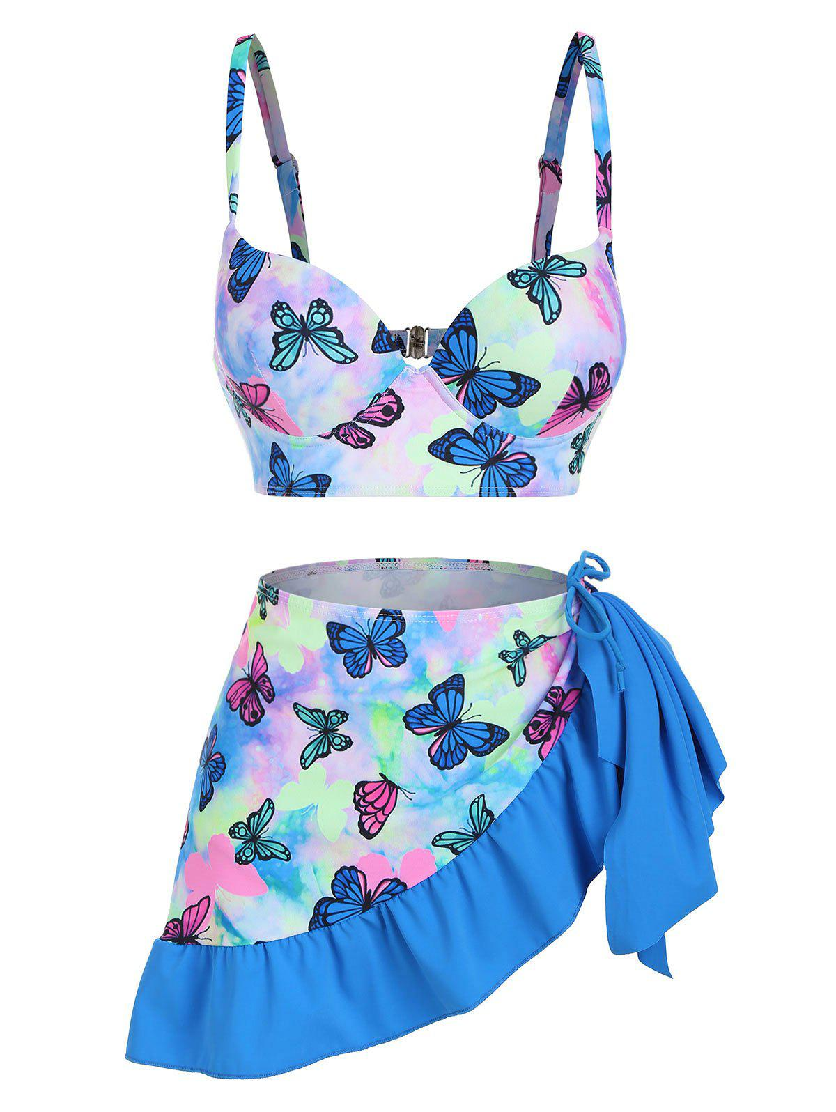 Outfit Butterfly Print Tie Dye Push Up Cinched Three Piece Swimsuit