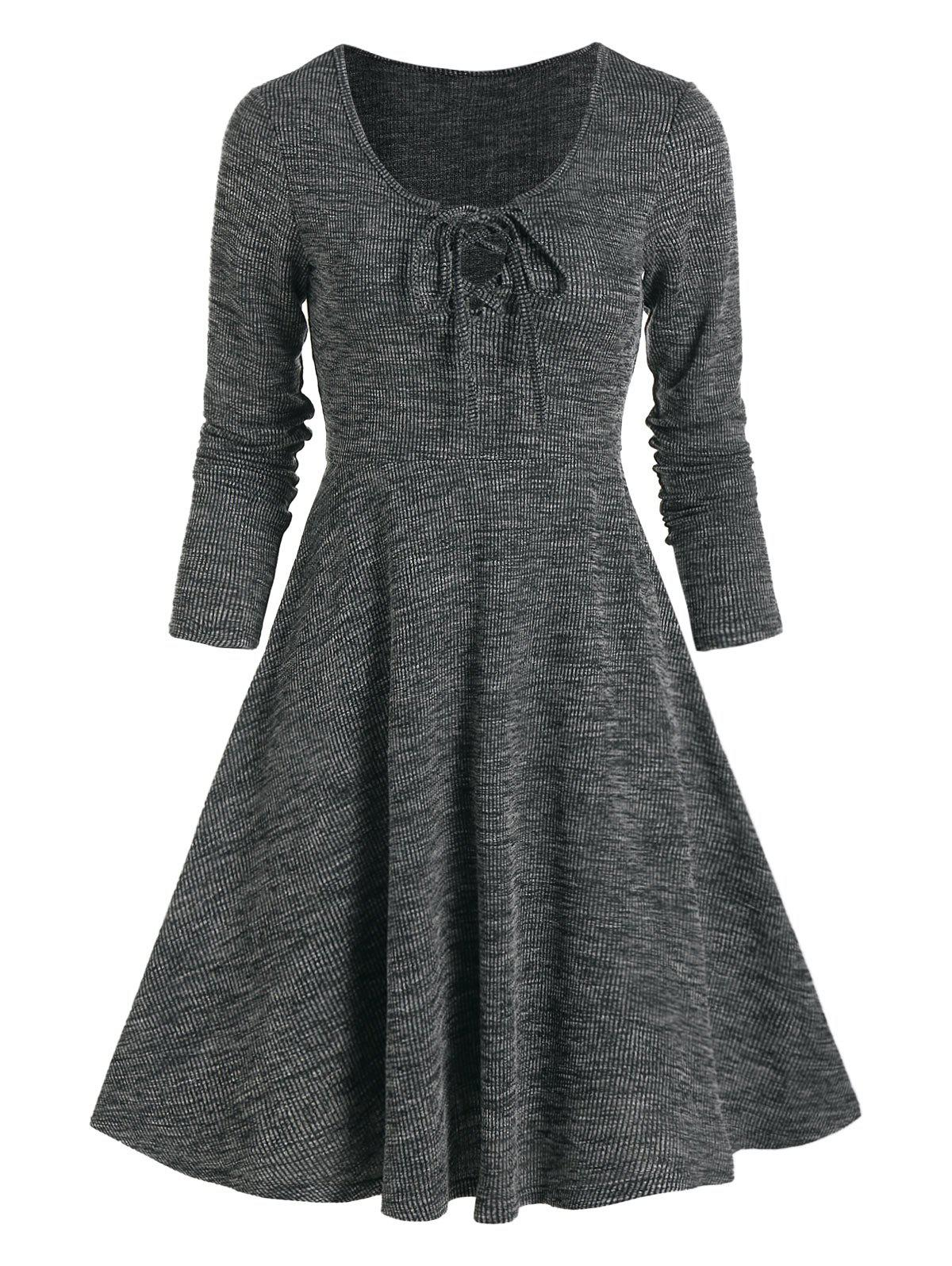 Affordable Lace Up Knitted Long Sleeve Mini Dress