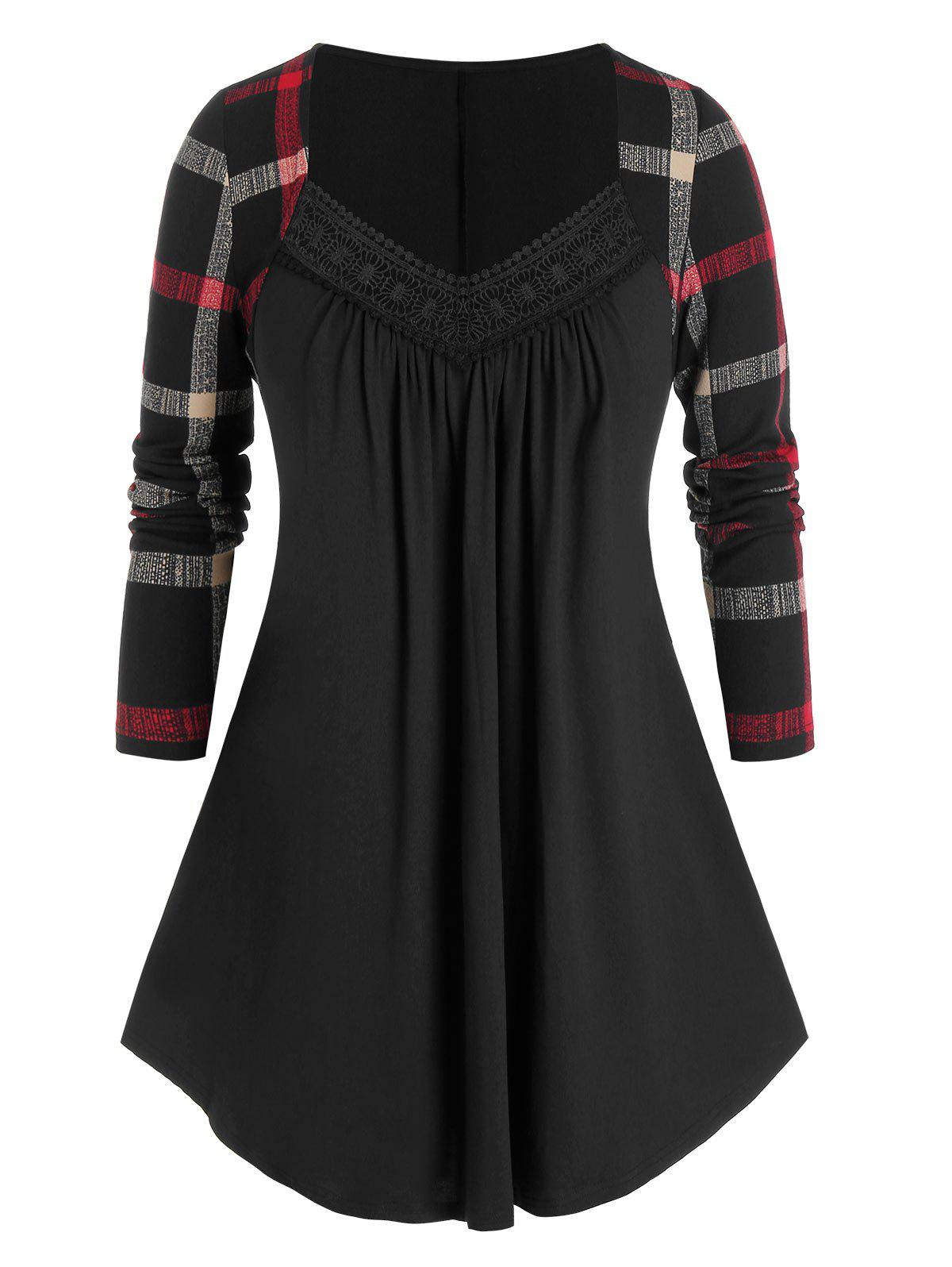 Store Plus Size Plaid Sleeve Pleated Top