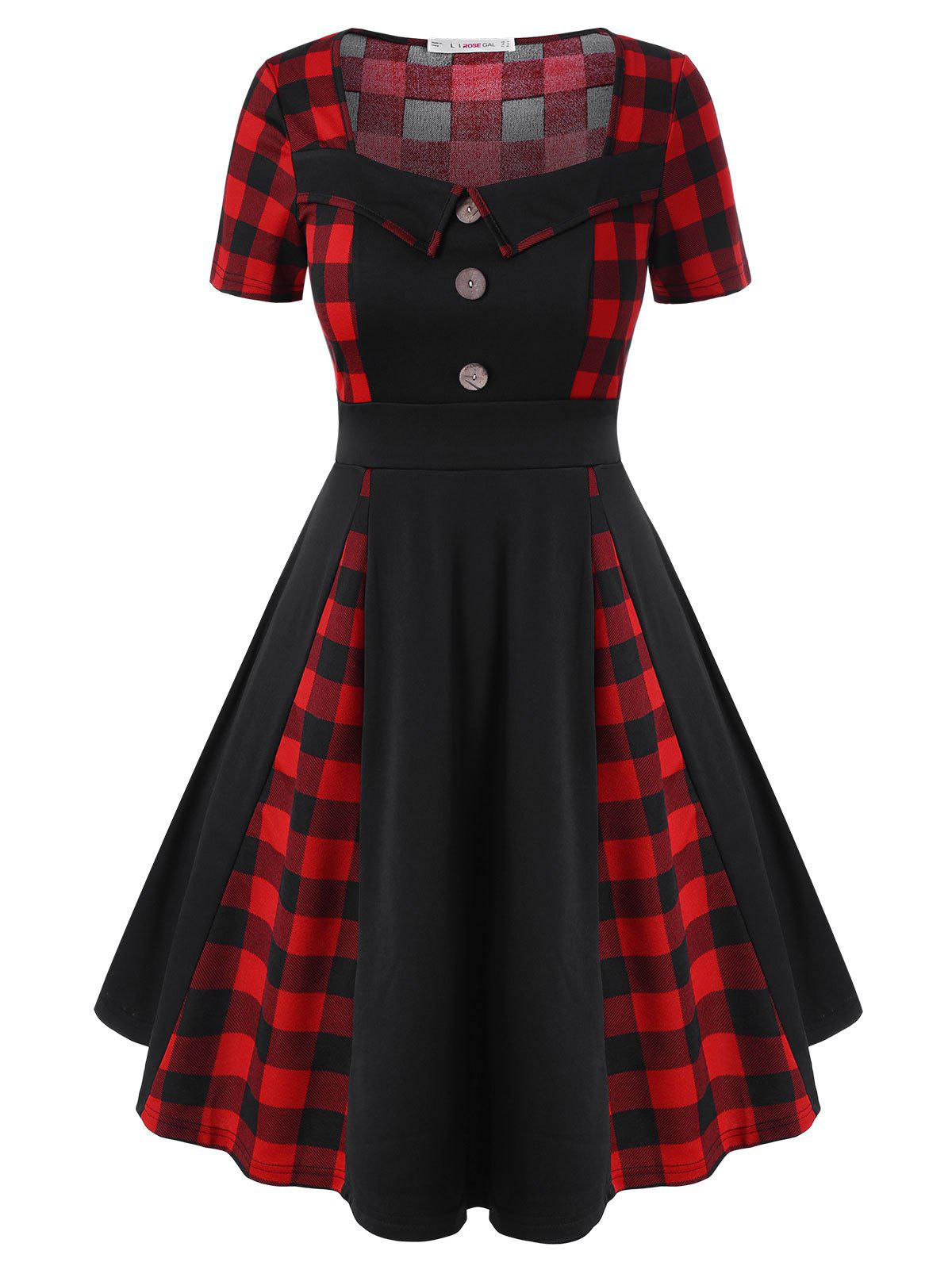 Discount Plus Size Plaid Fit and Flare Dress