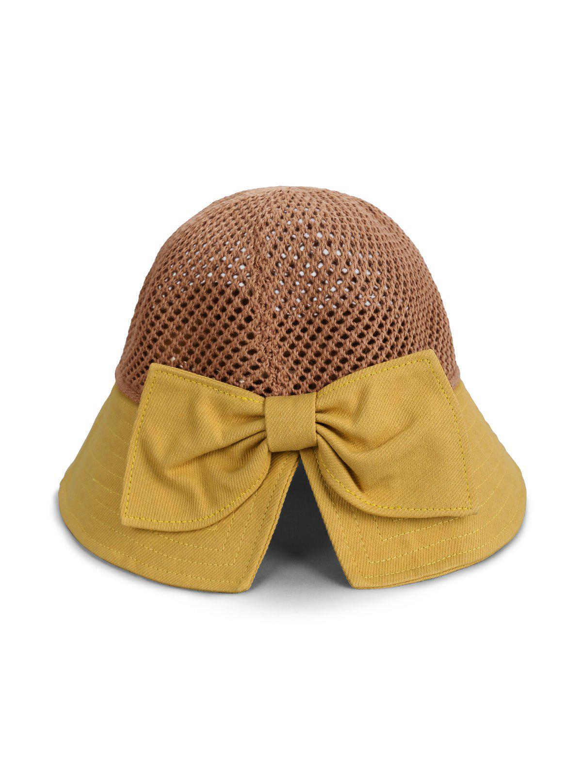 Affordable Colorblock Bowknot Cotton Bucket Hat