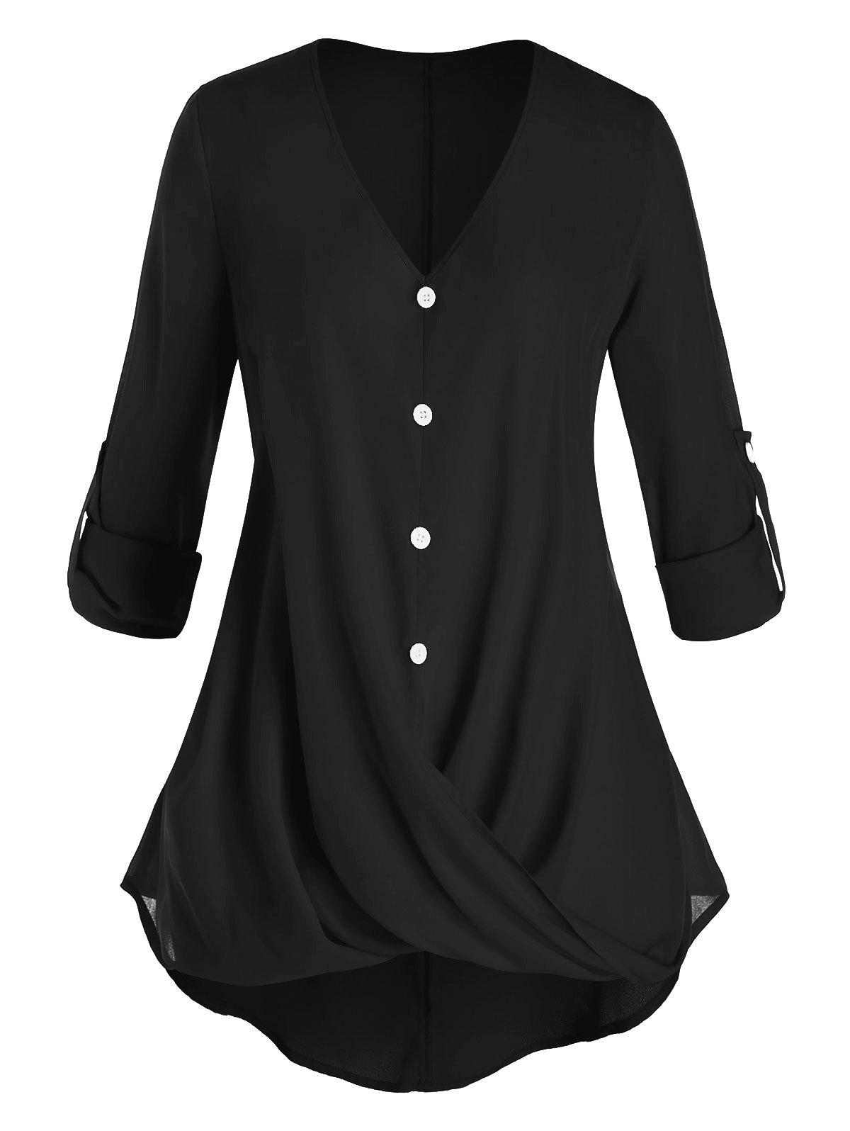 Hot Plus Size Crossover Button Tab Sleeve Curved Blouse