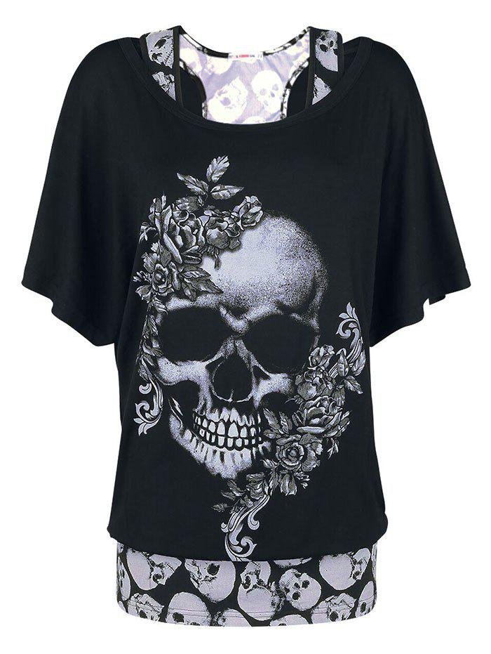 Sale Plus Size Halloween Floral Skull T-shirt and Racerback Tank Top Set